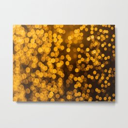 Gold Glitter Sparkle Bokeh Blurred Lights Shimmer Shiny Dots Spots Circles Out Of Focus Metal Print