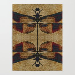 Dragonfly 2.0 Mirrored on Leather Poster