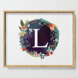 Personalized Monogram Initial Letter L Floral Wreath Artwork Serving Tray