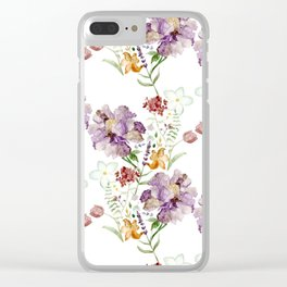 Rural Floral Pattern Spaced Out Clear iPhone Case