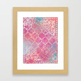 Layered Patterns - Pink, Coral, Turquoise and Cream Framed Art Print