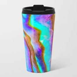 Shell, Abalone, Mother of Pearl, Abstract, Colorful, Bright, Shiny, Bold, Blue, Purple, Shells, Bold Metal Travel Mug