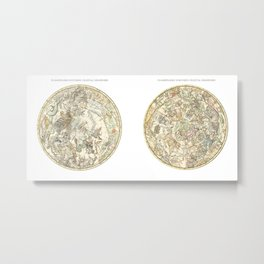 Zodiac chart of Northern and Southern constellations Metal Print