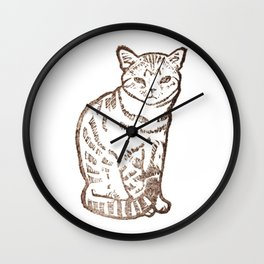 cat stamp hand made Wall Clock