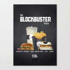 Blockbuster menu Canvas Print