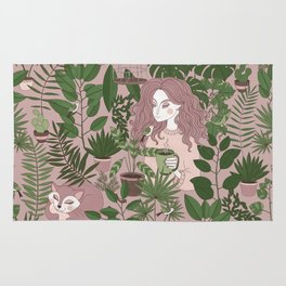 Girl and cat in Hygge Rug