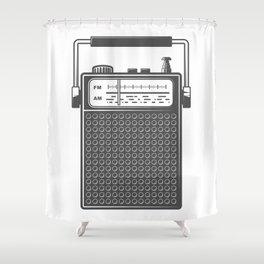 Retro portable radio. Monochrome vintage style illustration Shower Curtain