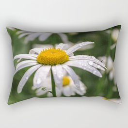 White daisy with rainy droplets Rectangular Pillow