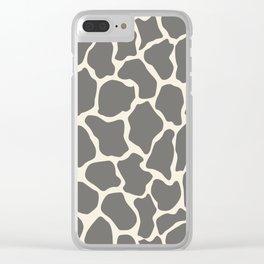 Safari Giraffe Print - Grey & Beige Clear iPhone Case
