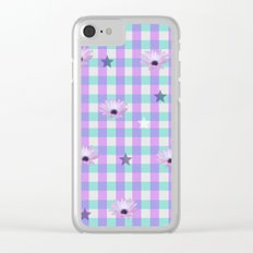 Gingham flowers Clear iPhone Case