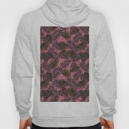 Coral pink forest green tropical palm tree floral Hoody