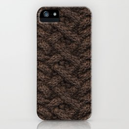 Brown Haka Cable Knit iPhone Case