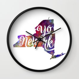 New York US State in watercolor text cut out Wall Clock