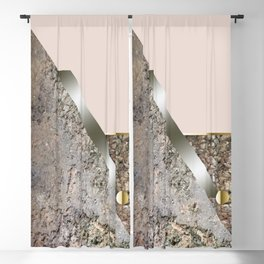 Rose Green Stone Cubism Blackout Curtain
