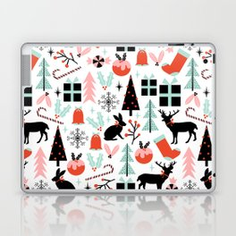 Christmas ornaments minimal holly reindeer candy cane christmas tree pattern print Laptop & iPad Skin