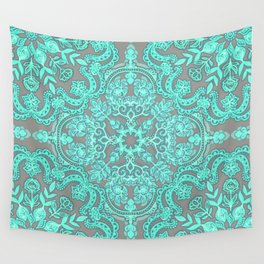 Mint Green & Grey Folk Art Pattern Wall Tapestry