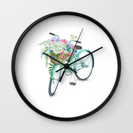 Vintage Aquamarine Bicycle with Flower Basket Wall Clock