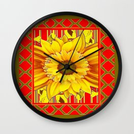 AVOCADO COLOR RED YELLOW SUNFLOWER ART Wall Clock