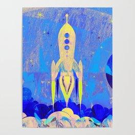 Cute Retro Rocket Poster