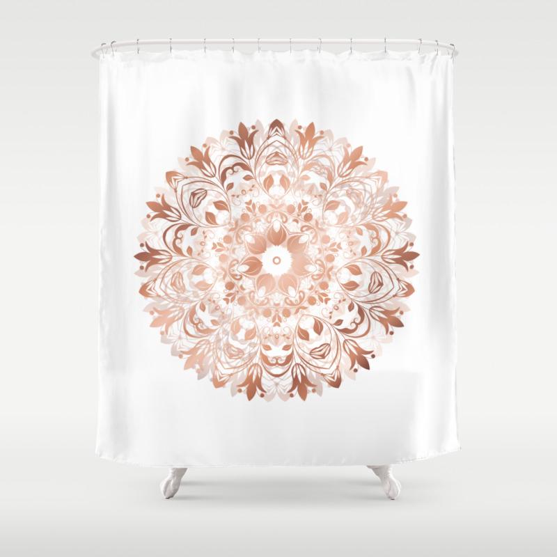Rose Gold Floral Mandala Shower Curtain By Ninabaydur Society6