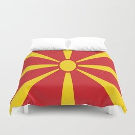 Flag of Macedonia - Macedonian,skopje,Bitola,Kumanovo,Prilep,Balkan,Alexander the great,Karagoz,red Duvet Cover