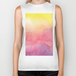 Hand painted abstract violet pink yellow watercolor paint Biker Tank