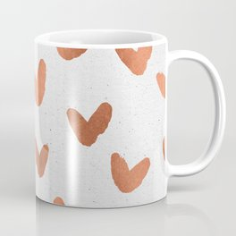 Rose Gold Pink Hearts on Paper Coffee Mug