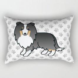 Tricolor Shetland Sheepdog Dog Cartoon Illustration Rectangular Pillow