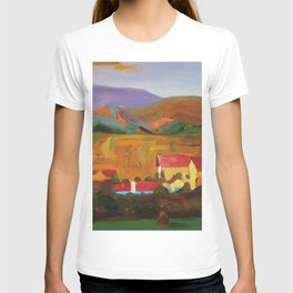 Tuscany Vineyards, Orchards, Village & Rolling Hills landscape painting by Egon Schiele T-shirt