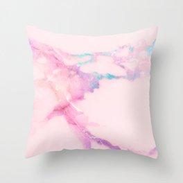 Pink Iridescent Vein Marble Throw Pillow