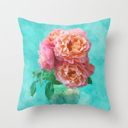 Pink Rose Bouquet in a terracotta vase Throw Pillow
