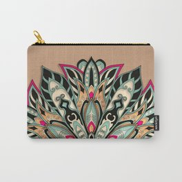 Tribal Geometric brown and green Mandala Carry-All Pouch