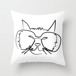 Printable Pet Art of stylized Cat in Glasses by one continuous Line Throw Pillow