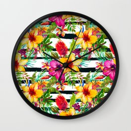 Colorful pink orange black white tropical floral Wall Clock