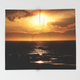 Silver lining on Clouds at Sunset Throw Blanket