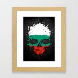 Flag of Bulgaria on a Chaotic Splatter Skull Framed Art Print