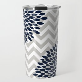 Chevron Floral Modern Navy and Grey Travel Mug
