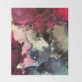 Dark Inks - Alcohol Ink Painting Throw Blanket