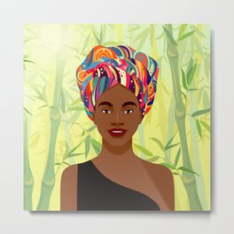 Set of young attractive african american women, Landscape of bamboo stems and leaves background. 1/3 Metal Print