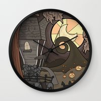 nightmare before christmas Wall Clocks featuring Nightmare Before Christmas by Lacey Simpson