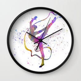 Rhythmic gymnastics competition in watercolor 07 Wall Clock