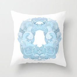 Blue Rosemaling letter O Throw Pillow