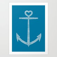 kpop Art Prints featuring Love is the anchor by Picomodi