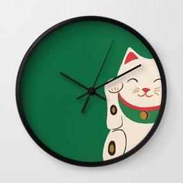 Green Lucky Cat Maneki Neko Wall Clock