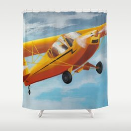 Yellow Plane, Blue Sky Shower Curtain