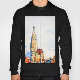 Empire State Building, Manhattan, NYC, Original Watercolor painting Hoody