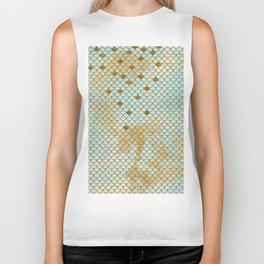 Mermaid Scales- Mermaidscales Gold and Aqua Fish Scales Biker Tank