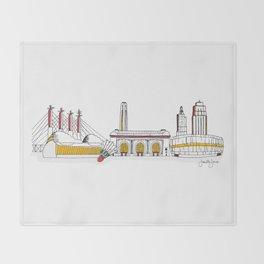 Kansas City Skyline Illustration in KC Football Colors Throw Blanket