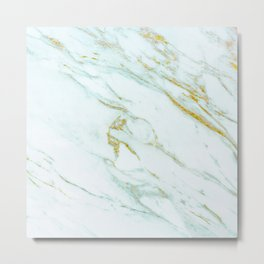 Gold Mint Marbled Metal Print