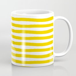 Yellow And White Horizontal Stripes Coffee Mug